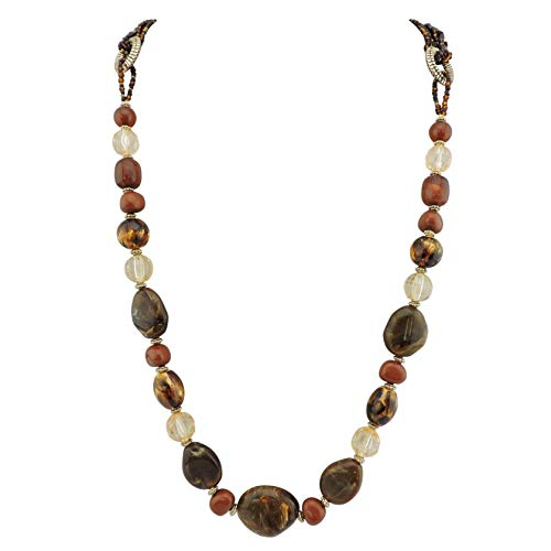 Bocar Long Multilayer Necklace Women Handmade Beads Chian Necklace Gift (NK-10349) (Brown)