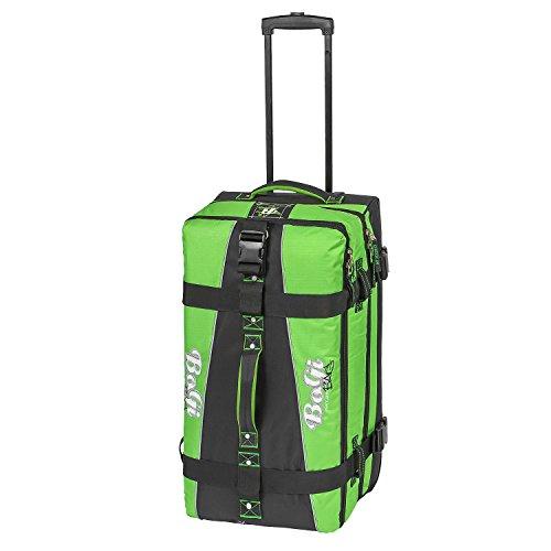 BoGi Bag Reisetasche Rollkoffer Reisekoffer Koffer, 72 cm, 85 L, Schwarz/Grün