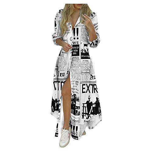 WWricotta Langes Hemdkleid Damen Streifen Drucken V-Ausschnitt LongÄrmel Kleider Blusenkleid Elegant Longshirt Hemdkleid Kurze Minikleid mit...