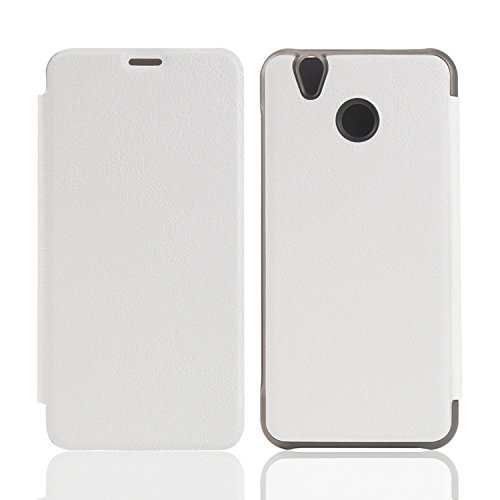 Owbb Hülle für Oukitel U7 Plus Handyhülle Hard Plastik PU Ledertasche Flip Cover Tasche Hülle Case mit Stand Function Retro Klapphülle Hochwertige Design Weiß