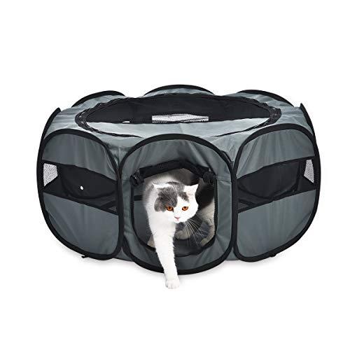 Amazon Basics – Corral para mascotas suave y transportable, 89 cm, Gris