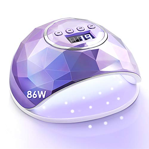Janolia UV Nail Lamp, 86W UV LED Nail Dryer with 4 Timer Setting, Professional UV LED Light for Gel Nail Polish, Automatic Sensor and Over-Temperature Protection (Plated Purple)
