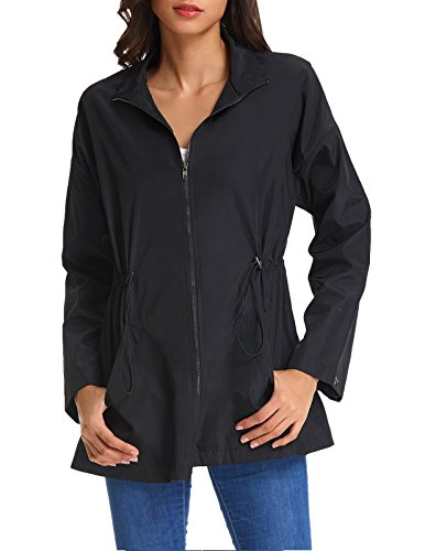 Kate Kasin Women's Lightweight Windbreaker Jacket Anorak Quick Dry Outdoor Packable Hoody (X-Large, 767# Black)