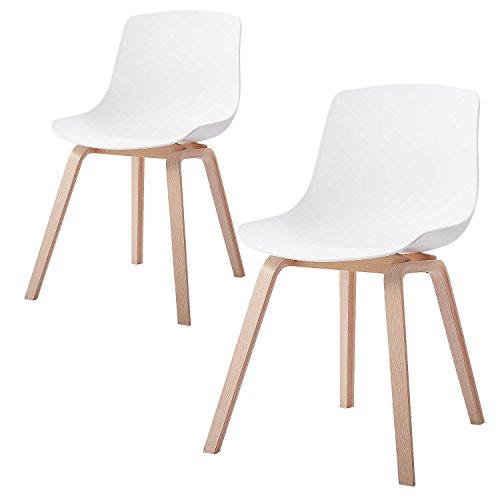 Damiware Juliet Wohnzimmerstuhl Esszimmerstuhl 2er-Set Weiß Polypropylen und Buchenholz Retro Design Stuhl für Büro Lounge Küche Wohnzimmergrey (Weiß)