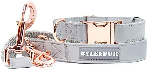 BYLEEDUR Dog Leash 6 6 and Dog Collar in Set Stylish Leather Look with Rose Gold Adjustable product image