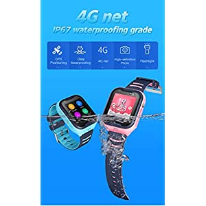 Waterproof GPS Smart Watch, Laxcido 4G Video Phone Call Real-time Tracking Camera SOS Alarm Geo-Fence Touch Screen Monitoring Health Steps Flashlight Anti-Lost GPS Tracker Watch (Pink)