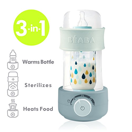 BEABA Quick Baby Bottle Warmer, Steam Sterilizer, Baby Food Heater (3-in-1) Warm Milk in Just Two Minutes, BPA and Lead Free, Simple Temperature Control, Fits All Bottle Sizes - Even Wide Neck (Cloud)