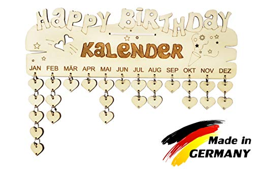 PISDEZ Geburtstagskalender Jahresunabhängig Holz Geschenke - zum Selbst-gestalten DIY Kalender Immerwährend Jahre, Zahlen und Datum