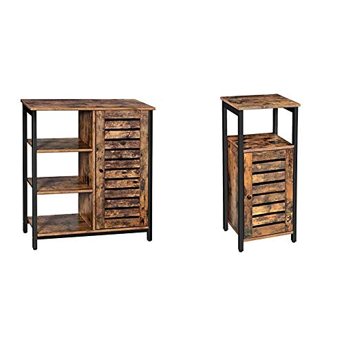 VASAGLE Lowell Storage Cabinet, Cupboard, Multipurpose Cabinet, Rustic Brown and Black ULSC74BX & Lowell Storage Cabinet, Standing Cabinet, Industrial Floor Cabinet, Rustic Brown ULSC34BX