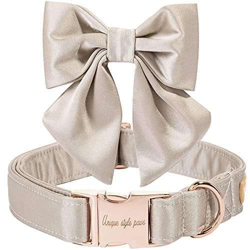 Unique style paws Collar para perros de seda color champán, ajustable, resistente, con lazo, para boda, para perros medianos