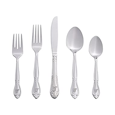 RiverRidge Home Products Rose Monogrammed 46-Piece Flatware Set, Service for 8, E