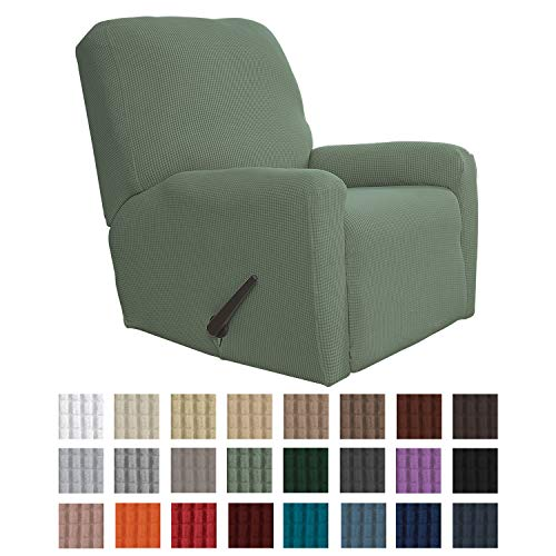 Easy-Going Recliner Stretch Sofa Slipcover 4-Piece Sofa Cover Furniture Protector Sofa Shield Couch Soft with Elastic Bottom Kids, Spandex Jacquard Fabric Small Checks(Recliner,Greyish Green)