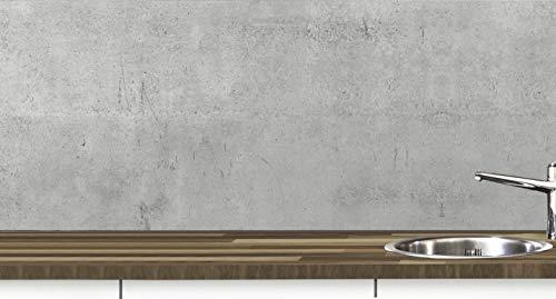 KLINOO Küchenrückwand aus Folie in Betonoptik als Spritzschutz - zuschneidbar und erweiterbar - 97cm x 68cm (Beton)