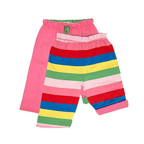Toby Tiger Organic Cotton Girly Stripe Reversible Trousers, Pantalon Bébé Fille, Rose, FR: 3 Ans (Taille Fabricant: 2-3 Years)