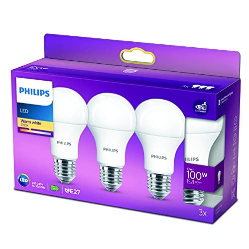 Philips Lighting Lampadina LED Goccia, 3 Pezzi, Equivalente a 100W, Attacco E27, Luce Bianca Calda, non Dimmerabile