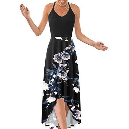VEMOW Vestido de Playeros Verano Mujer 2021 Tallas Grandes sin Mangas, Largo Asimétrico Vestido de Fiesta Tirantes Cuello en V Boho Floral Camisola De Falda Ropa Casual para El Hogar