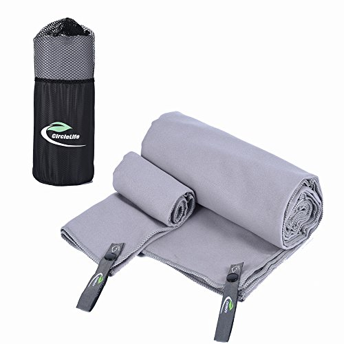 """2 Pack Quick Dry Beach Bath Towel, Quick Drying XL (60"""" X 32"""") with Hand/Face Towel (14""""X14"""") & Mesh Bag for Swimming, Travel, Sports, Camping, Beach, Yoga or Bath (Gray)"""