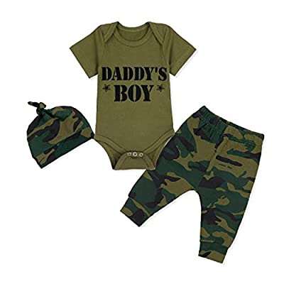 Baby Boy Clothes Daddy's Boy Print Romper+Long Camouflage Pants+Hat 3PCS Outfits Set 0-3 Months
