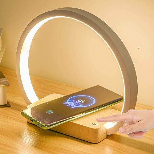 Lámpara de escritorio ALL2SHOP Lámpara de mesilla multifuncional con cargador inalámbrico lámpara de escritorio LED blanca, adaptador 5V 2A, 3 modos de iluminación, luz de consola táctil para apreciar
