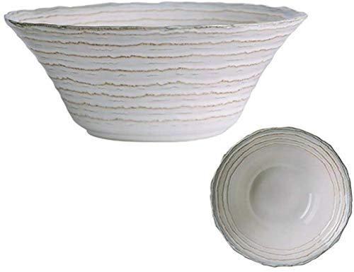 GLLP arroz Plato de Carne tazón tazón de Sopa de época Corrugado Placa de cerámica del hogar Placa de vajilla (Color : Blue)