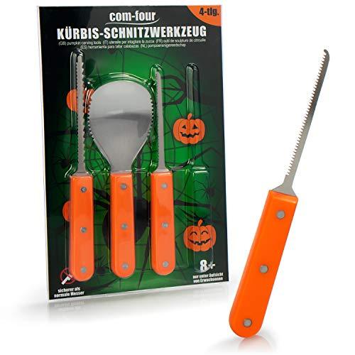 com-four® Set da Intaglio di Zucca da 4 Pezzi per Halloween - Utensili da Taglio per Scavare Le zucche - cucchiai, coltelli da Sega, Sega Circolare (Utensile da Intaglio - 04 Pezzi)