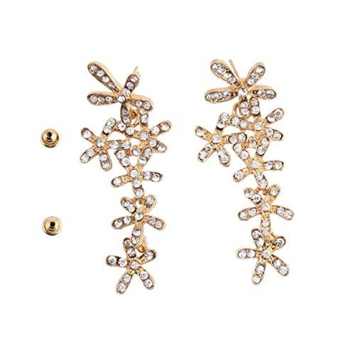 SZXCX 1 par de Flores de Copo de Nieve, Diamantes de imitación Largos, Pendientes Colgantes de Cristal, Gota para el oído