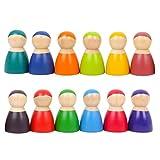 SimpleLife Ensemble de 12 poupées poupées Arc-en-Ciel Montessori Set- Jeu de Simulation en Bois Personnages pour bébés Jouet
