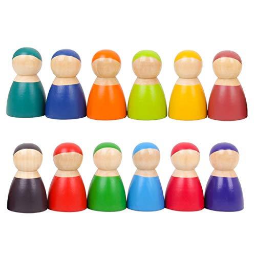 Montessori Satz Von 12 Regenbogen Freunde Peg Puppen Aus Holz So Tun, Als Spielen Menschen Figuren Baby Spielzeug Environmental Safety Paint