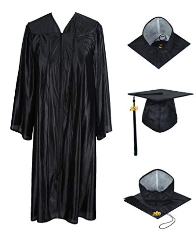 GraduationForYou Shiny Graduation Gown Cap Tassel 2020 Black