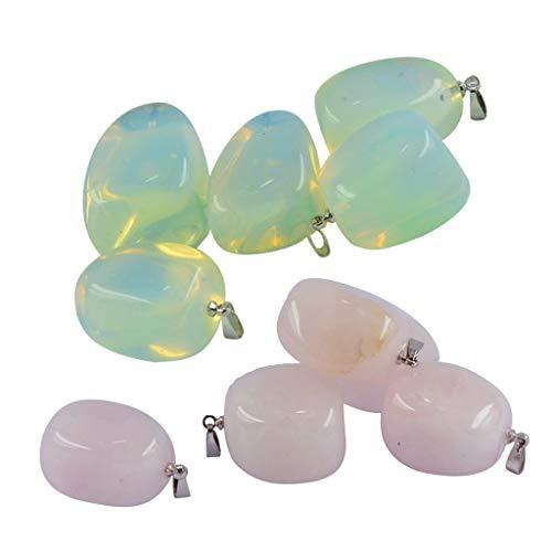 perfk 10 Juegos de Colgantes de Piedra Natural para Mujeres Y Hombres, Collar de Cristal de Piedras Preciosas