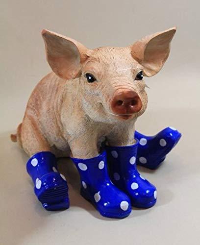 Vamundo Sitzendes Deko Schwein mit Gummistiefel blau # Ferkel # wetterfest