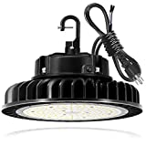 200W UFO LED High Bay Light Fixture, 28000lm 1-10V Dimmable 5000K 5' Cable with US Plug, [400W/750W MH/HPS Equiv.] Commercial Warehouse/Workshop/Wet Location Area Light