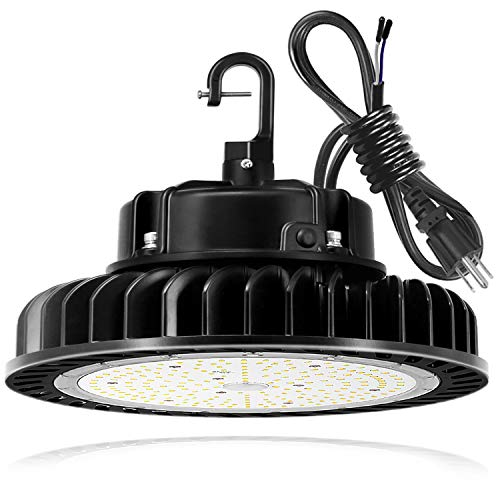 Hykolity 250W UFO LED High Bay Light Fixture, 35000lm 1-10V Dimmable 5000K 5' Cable with US Plug [750W/1000W MH/HPS Equiv.] Commercial Warehouse/Workshop/Wet Location Area Light