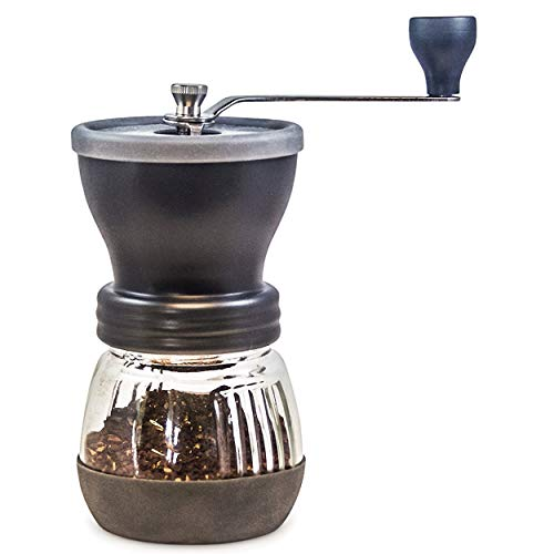 Khaw-Fee HG1B Manual Coffee Grinder with Conical Ceramic Burr - Because Hand Ground Coffee Beans Taste Best, Infinitely Adjustable Grind, Glass Jar, Stainless Steel Built To Last, Quiet and Portable