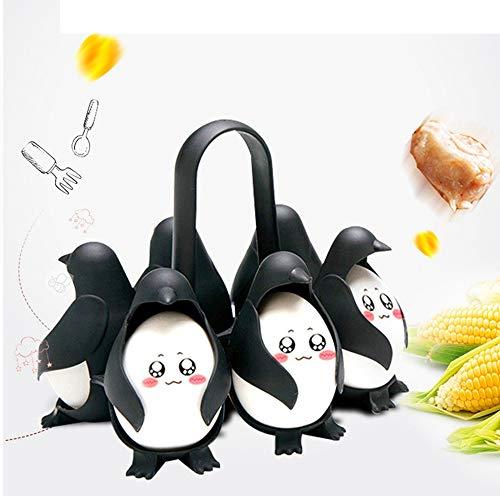 Soporte de caldera de huevo, 6 rejillas Caldera de huevo en forma de pingüino Huevera multifuncional Refrigerador Almacene y sirva Soporte de huevo Herramientas de cocina Utensilios de cocina
