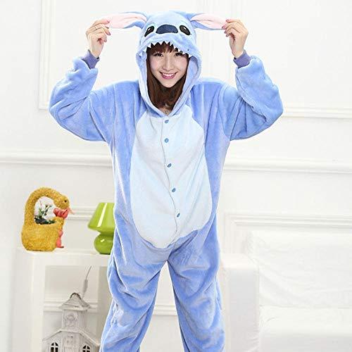 Frauen-Pyjamas Strampelanzug Cartoon Tiere Dinosaurier-Winter-Flanell-Pyjama Erwachsener Rosa Negligés Stich Nachtwäsche Overall Hyococ (Color : Stich, Size : L)