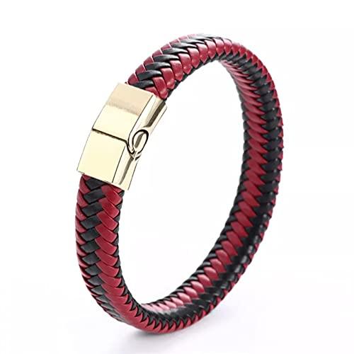 YAMAO Pulseras Hombre,Joyería para Hombre, Pulsera de Cuero Trenzado Rojo Negro, Cierre magnético de Acero Inoxidable, brazaletes de Moda, Pulsera Envolvente