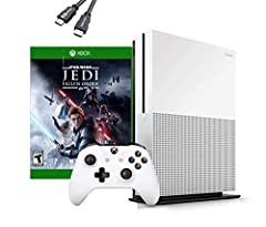 Previous generation bundle includes: Xbox One S 1TB console, fullgame download of star wars jedi: Fallen order, one Xbox Wireless Controller (with 3.5mm headset jack), HDMI cable (4K Capable), AC Power cable. 1 Month Xbox Game Pass trial, 14 Day Xbox...