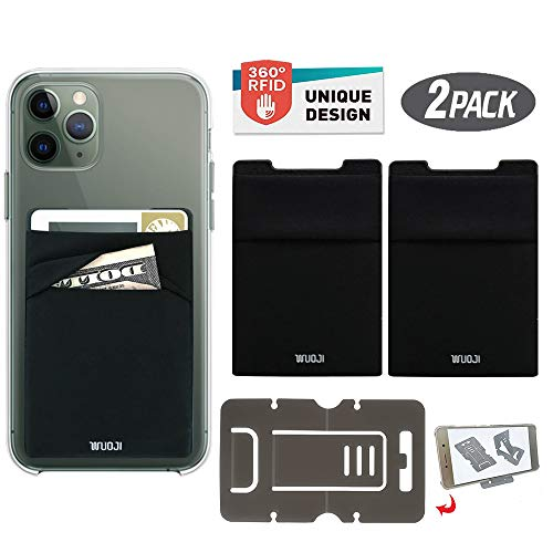 [2PC] RFID Blocking Phone Card Wallet - Double Secure Pocket - Ultra-Slim Self Adhesive Credit Card Holder Card Sleeves Phone Wallet Sticker All Smartphones(Black)