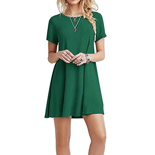 FARCHAT Vestidos Mujer Suelto Casual de la Camiseta Cuello Redondo Vestido Ejercito Verde S