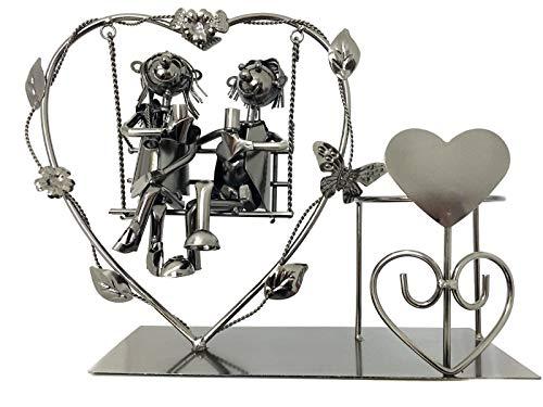 Flaschenhalter Liebespaar Schaukel Liebesschaukel Hochzeit Geschenk Herz Weinflaschenhalter Metall Hochzeitspaar Valentinstag
