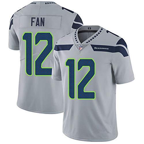 Herren T-Shirt American Football Uniform Seattle Seahawks Fan #12 Fußball Trikot Gruby Tee Shirts Gr. 56, grau