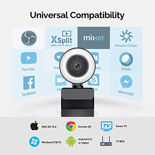Webcam 1080P Full HD mit Mikrofon und Ringlicht, 960A Pro Computer PC USB Kamera mit Automatischer Lichtkorrektur Plug und Play,für Streaming Video Chat Aufnahme, Mac Windows Laptop Konferenz Skype