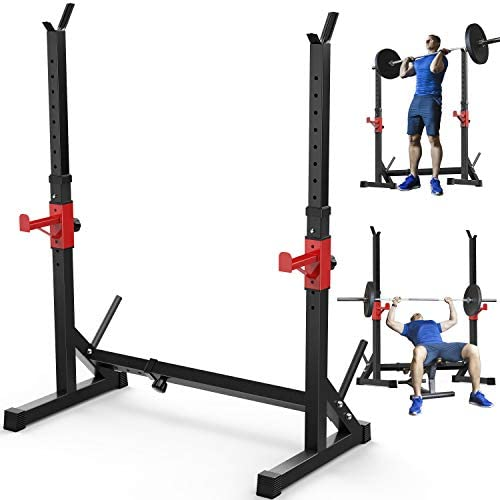 Annzoe Adjustable Multi Function Barbell Rack Stand Max Load 600lbs Adjustable Squat Rack Dipping product image