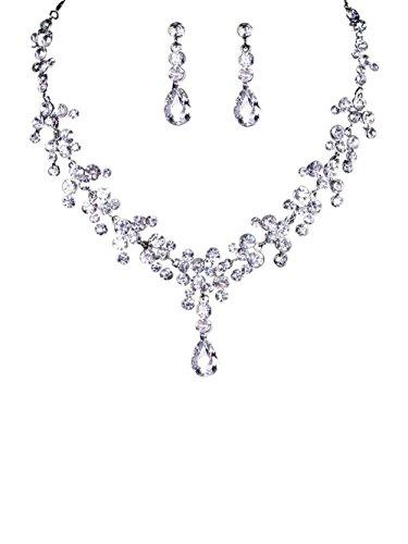 TreasureBay Brautschmuck- / Schmuck-Set, bestehend aus Halskette und Ohrringen, klare Kristalle
