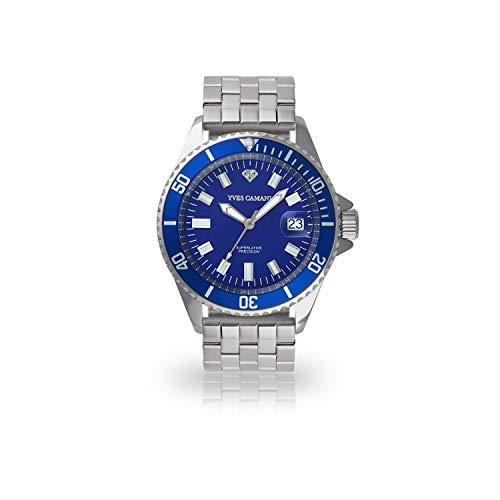 Yves Camani Herrenuhr Quarz Edelstahlgehäuse Edelstahlarmband Mineralglas ANWEN blau/silber YC1065-C