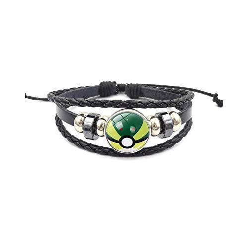 Nestdo Adjustable Leather Bracelets with Cute Pokemon Pattern DIY, Multi-layer Handmade Braided Jewellery Bracelet for Girl, Boy (Pokemon - 10)