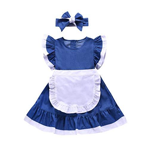HEETEY HEETEY Kleid Rock Sommer-Kleinkind-Baby-Mädchen-Fliegenhülsen-Normallack-Kleid Spleißkleider + Stirnband-Outfits Sommerkleid Festkleid