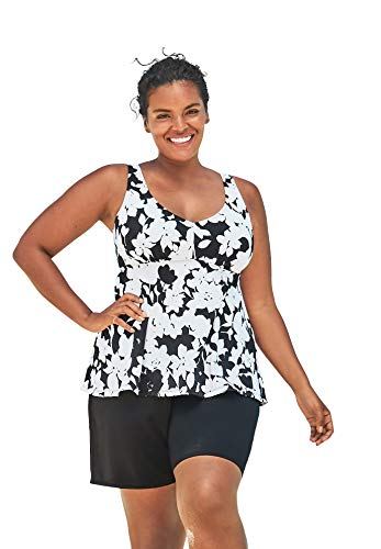 Swimsuits For All Women's Plus Size Flowy Tankini Top - 30, Black White Graphic Floral