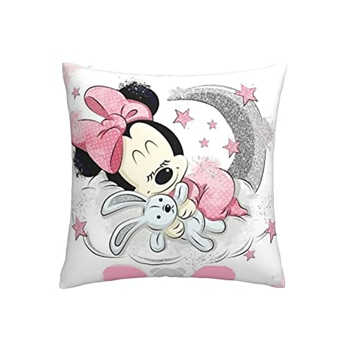 ONF1WX Funda de almohada de dibujos animados de Mickey Minnie Mouse, súper suave, cómoda, decoración del hogar, 45,7 x 45,7 cm